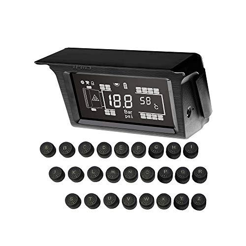 Sistema inalámbrico inalámbrico de control de presión de neumáticos, TPMS solar, sensor de sistema de control de presión de neumáticos 26 con amplificador de señal para camiones, autobuses, remolques