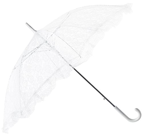 Firefly Imports Homeford White Lace Parasol Umbrella for Bride, 34-Inch