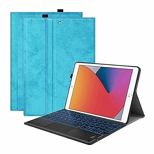 iPad Pro10.5/Air3/10.2 タッチパッドキーボード Bluetooth キーボード バックライト ワイヤレスキーボード TPUケース ペンシル収納付き ブルートゥース Bluetooth キーボード スタンド カバー (シーブルー)