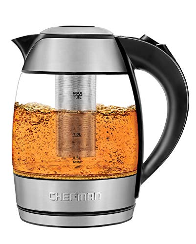 Chefman Electric Cordless Glass Tea Kettle with FREE Included Tea Infuser LED Lighting, Perfect Steep and Auto-Shutoff Safety Feature, 1.8 Liter/1.9 Quart - RJ11-17-TI