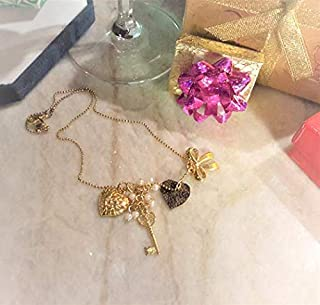 Charms Necklace. Fashioned w Louis Vuitton Authentic Upcycled Monogram Canvas, Pearl Charms, Heart charm. Gift. Item #157