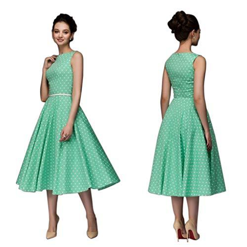 Vivitoch Sommerkleid für Damen, Vintage-Stil, gepunktet, ärmellos, A-Linie, Midi-Kleid, Landhausstil, Mid Empire-Taille, Rundhalsausschnitt, plissiert, Boho-Stil, 3 Farben A-Linie m grün
