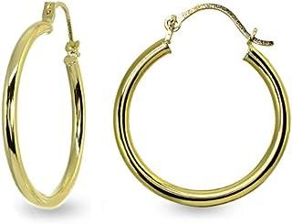 أقراط حلقية دائرية مصقولة عالية الجودة من الذهب عيار 14 قيراط 2 مم للرجال والنساء والفتيات (1/2 بوصة - 1 بوصة قطر)