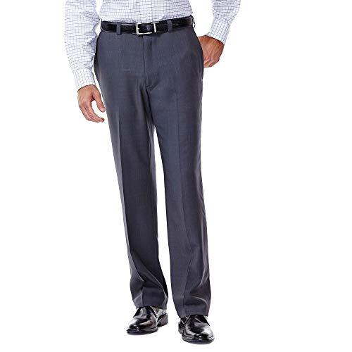 Haggar Men's ECLO Stria Expandable-Waist Plain-Front Dress Pant, Med Grey, 32x30