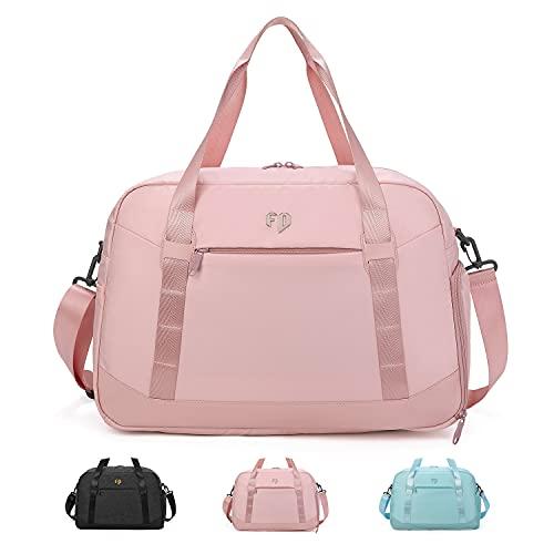 FEDUAN original hochwertig komfortable Sporttasche Reisetasche mit Nassfach Kliniktasche Shopping-Bag Weekender Handgepäck wasserfest Handtasche Freizeit-Tasche Damen Herren Einkaufen pink rosa