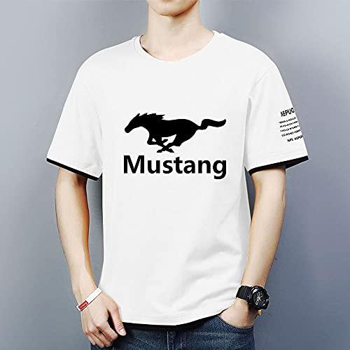 Hombre Camisetas de Manga Corta Sport tee Tops - 3D Mustang Casual Unisexo Camisas de Golf de Tshirts Trabaja Deportes Camiseta - Regalos para Adolescentes,Blanco,M