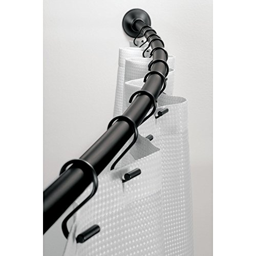 """InterDesign Wall Mounted Curved Bathroom Shower Curtain Rod – Hardware Included - Adjustable 41""""- 72"""", Matte Black"""