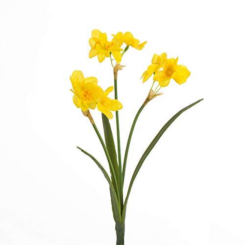 artplants Set 9 x Künstliche Narzissen PAVA, 3 Blütenstiele, gelb, 27 cm - Kunst Osterglocke/Kunstblume