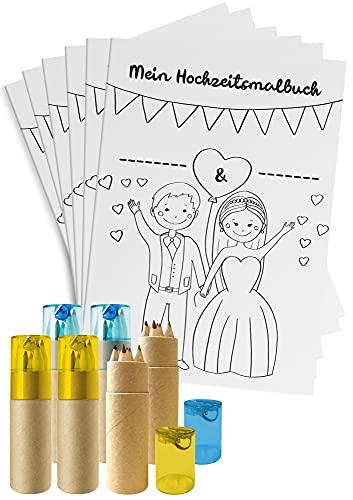 Hochzeitsmalbuch für Kinder - 6er Set - Ausmalbuch zur Hochzeit mit Buntstiften & Spitzern - Kindermalbuch mit 28 Seiten