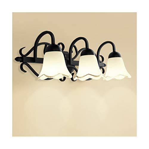 Zonne-spiegel voorlicht, smeedijzer-glazen lamp bedlampje make-up verlichting [energieklasse A ++]