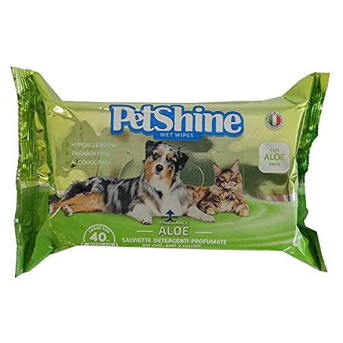 PORRINI Toallitas Higiene para Perro y Gato, Aloe Vera, 40 uds, Perro