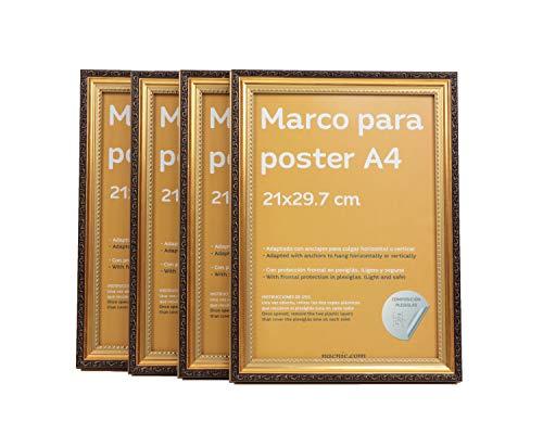 Nacnic - Set de 4 Marcos Dorados con Filigrana (A4-21x29.7cm) para apoyar o Colgar en la Pared. Color Oro para Fotos, Diplomas, Dibujos.
