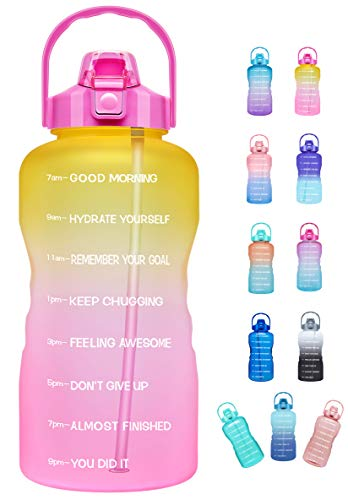 Venture Pal Large Half Gallon/64oz Motivational Water Bottle with Time Marker & Straw,Leakproof Tritan BPA Free Water Jug,Ensure You Drink Enough Water Daily for Fitness,Gym,Sports-Ombre Yellow Pink