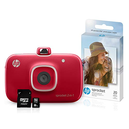 HP Sprocket 2-in-1 Portable Photo Printer & Instant Camera Bundle with 8GB microSD Card and Zink Photo Paper – Red (5MS97A)