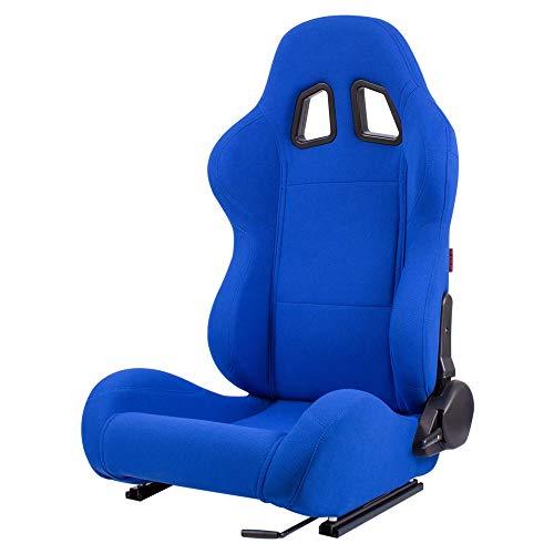 MODAUTO Asiento Deportivo Coche, Semibaquet Ajustable, de Tela, con Ríeles incluidos, Conductor y Pasajero, Universal para Coche y Simulador de Conducción, Modelo N140L, Azul