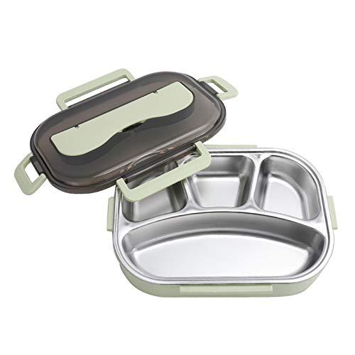 Portátil Lunch Bento Box Container con Juego de Utensilios Anti-derrame Multiusos Fiambrera bento Acero Inoxidable 304 Material de PP para niños Adultos,Verde