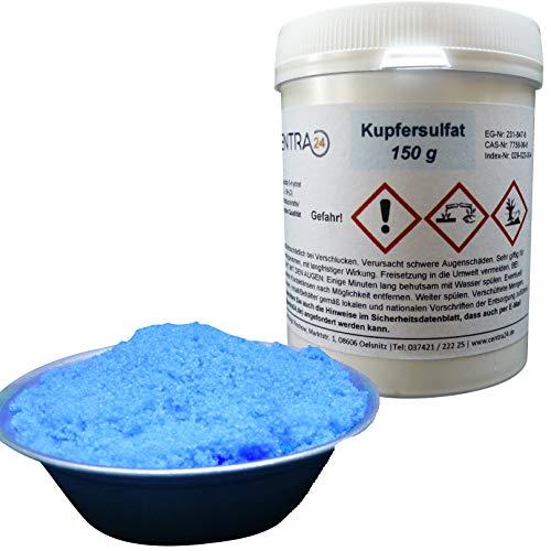Centra24 Kupfersulfat 150 g in Dose, Kupfervitriol, Kupfer(II)-sulfat-5-hydrat, Wasser, CUSO4 5H2O, Kristallzucht, Labor, Experiment, Blaustein, Verkupfern