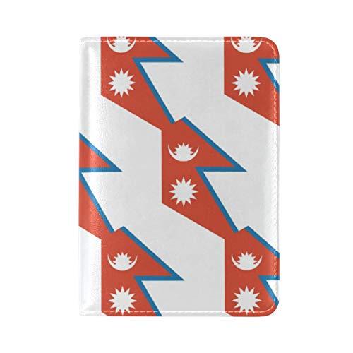 Funda de Piel para Pasaporte de la Bandera de Nepal – Soporte – para Hombres y Mujeres – Funda para Pasaporte