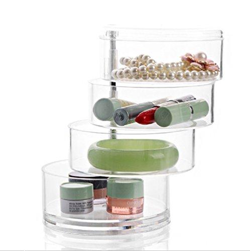Preisvergleich Produktbild Schönes Leben* Acryl Kosmetik Organizer Kosmetik Aufbewahrungsbox Cosmetic Storage Box Transparent 4 drehbare Fächern für Haargummi,  Nagellack,  Schmuck Aufbewahrung