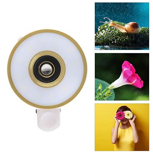 Selfie-ringvullichtlens, 15x vergrotings-LED 0,65x groothoek-LED Smartphone-macrolens, USB-make-upringvullichtlens met telefoonclip voor smartphone
