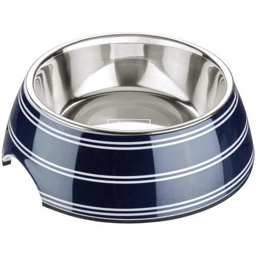 HUNTER SILDA Melamin-Napf, Futternapf, Trinknapf für Hunde und Katzen, herausnehmbarer Edelstahlnapf, 700 ml, blau/weiß