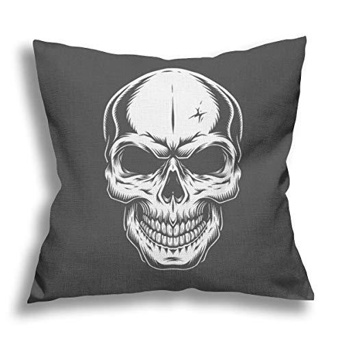 RDXX Vintage Monochrome Human Skull Flax Pillow Case Decorative Pillow Cushion Cover for Sofa Chair Bed Car Home Office Decor 45x45 cm