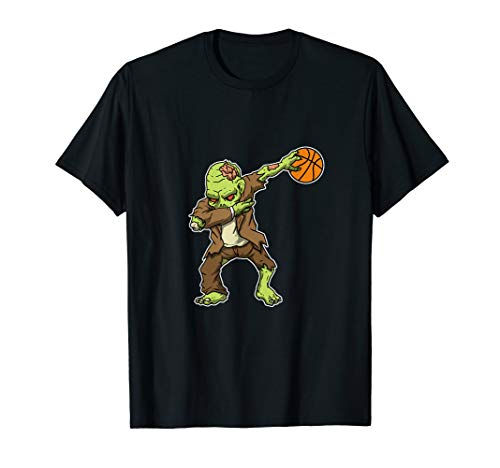 Dabbing Zombie Basketball Funny Halloween Costume T-Shirt