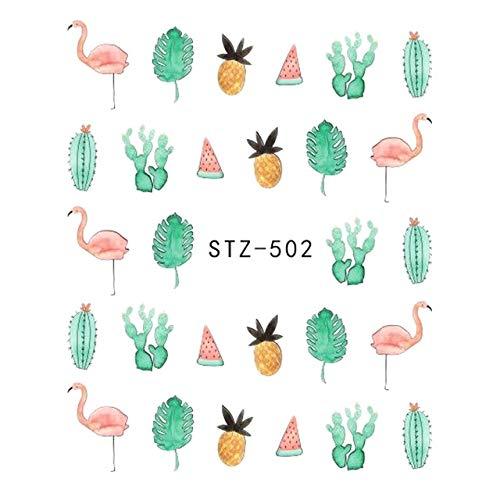 Kanggest.5 Hojas DIY Arte de uñas Pegatinas Conjunto láminas de Transferencia con Agua para decoración de uñas 3D Etiquetas engomadas del Arte del Clavo para Mujeres Niñ-Flamenco