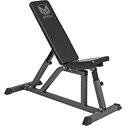 GYRONETICS weight bench with adjustable seat and backrest black - multi-incline bench variable flat up to 200 kg load