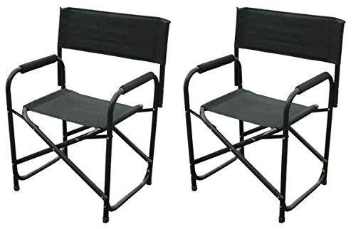 Impact Canopy Standard Folding Director's Chair, Heavy Duty, Set of 2 Chairs, Black