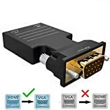 HDMI zu VGA Adapter, HDMI Buchse zu VGA Stecker Adapter mit 3,5 mm Audio HD 1080P für Computer, Desktop,Google Chromecast, Laptop, PC, Monitor, Projektor, HDTV/TV/AV, Plug & Play ohne Strom