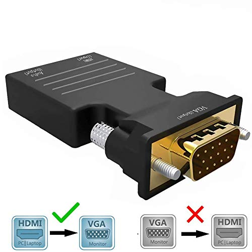 Nologie HDMI zu VGA Adapter, HDMI Buchse zu VGA Stecker Adapter mit 3,5 mm Audio HD 1080P für Computer, Desktop,Google Chromecast, Laptop, PC, Monitor, Projektor, HDTV/TV/AV, Plug & Play ohne Strom