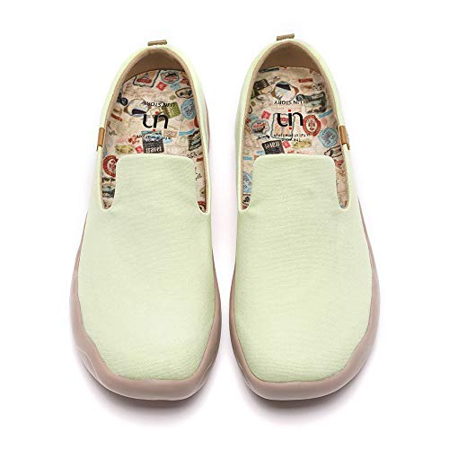 UIN Women's Lightweight Slip Ons Comfort Walking Flats Casual Art Painted Travel Solid Color Shoes Green (38)