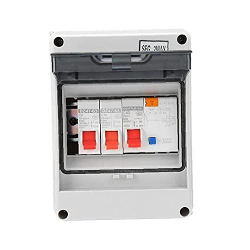 NiceJoy Interruptor de Circuito Unidad de Consumo, Grupo 2 Maneras Mini Protección de Fuga Junta Fusible 40a 30ma RCD 2 Mini-Interruptor 6a + 16a
