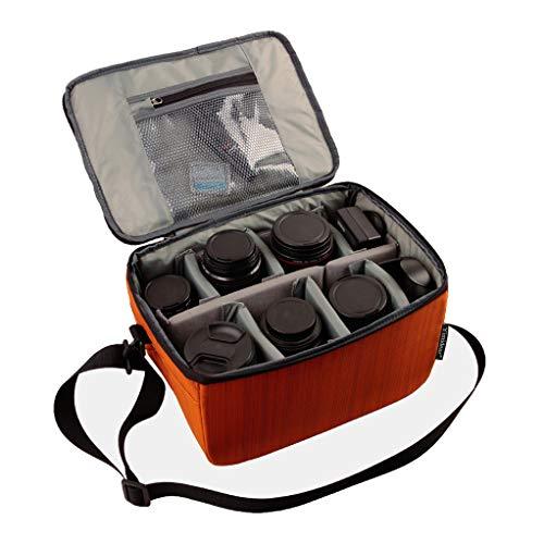 Yimidear Wasserdicht Stoß Partition Gepolsterte Kamerataschen Spiegelreflexkamera Taschen Schutzhülle Mit Top Griff und verstellbarem Schultergurt für SLR DSLR Objektiv oder Blitzlicht(Orange)