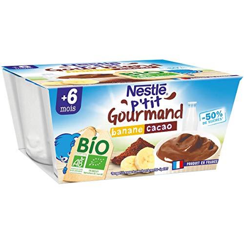 Nestlé Bébé P'tit Gourmand Bio Coupelle lactée Banane, Cacao Dès 6 mois 4x90g