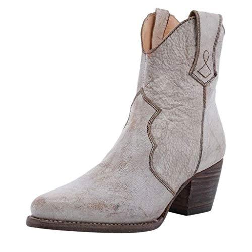 CUTUDE Damen Halbschaft Stiefel Kunstleder Stiefeletten Flache Boots Warme Gefüttert Wasserdicht...