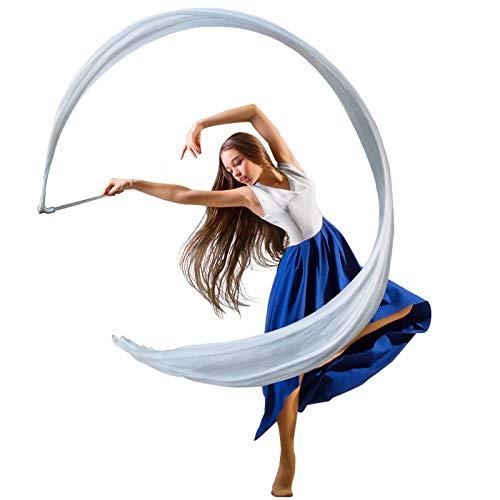 KIKIGOAL 16.4FT Dance Streamer Gymnastics Dance Ribbons Belly Dance Real Silk Ribbon Throw Streamer with Rod for Talent Shows, Artistic Dancing, Baton Twirling, Church Praise etc (White)