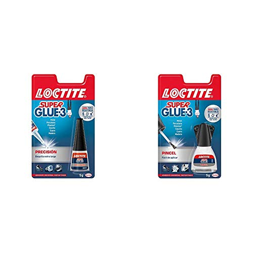 Loctite Super Glue-3 Precisión, pegamento transparente de máxima precisión, pegamento instantáneo triple resistente + Super Glue-3 Pincel, pegamento transparente con pincel aplicador