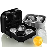 Round Ice Cube Mold,Ice Ball Maker Mold (Set of 2),Large Ice Cube Tray For Whiskey,Cocktails,Baby Food,Sphere Ice Cube Mold Reusable and BPA Free (Black and Gray)