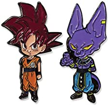 Dragon Ball Super SSG Super Saiyan God Red Goku & Beerus Metal Pins Set of 2