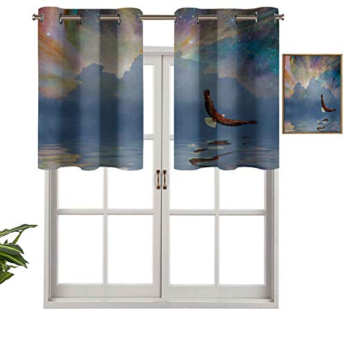 Extra Short Length Insulated Thermal Window Panel Majestic Huge Bird Flying above the Sea into the Starry Sky Freedom Themed Image, Set of 2, 42'x36' Home Decorative Blackout Panels for Bathroom