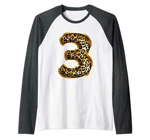 3rd Birthday Gift Leopard Animal Print Kids Third Three Camiseta Manga Raglan