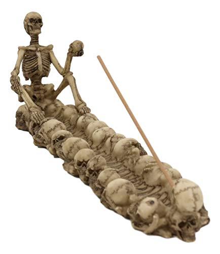 Ebros God of The Dead Skeleton King Sitting by Ossuary Skull Graveyard Incense Stick Burner Statue 10.5