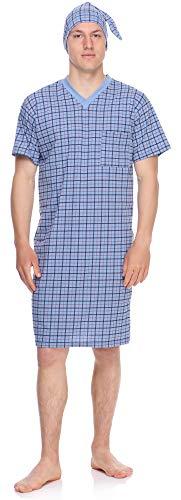 Timone Herren Nachthemd mit Schlafmütze TIDR5002 (Blau Kariert, XXL)