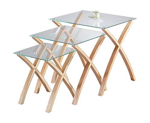 ASPECT Miami bijzettafel, hardglas, poten van massief hout, transparant, 3 stuks