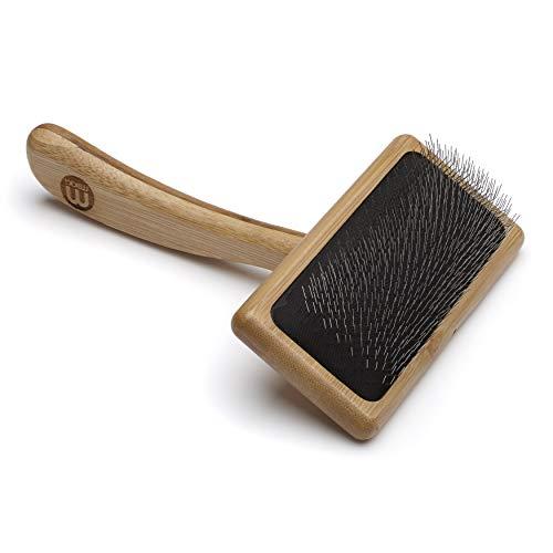 Mikki Bamboe Soft Pin Slicker Borstel voor hond, kat, puppy, voor middelgrote, lange en krullende jassen, verwijdert knopen, klitten, dode haar, handgemaakt van natuurlijke bamboe, medium