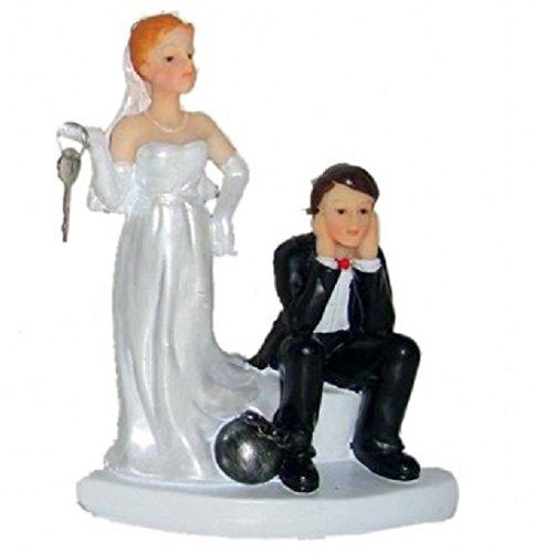 Brautpaar, Hochzeitspaar   Tortenaufsatz, Tortenfigur, Dekofigur, Cake Topper Wedding Hochzeit Trauung Hochzeitstorte   Moderne Skulptur für Das Brautpaar lustig Gefangen   9 x 12 cm (Fußfessel)