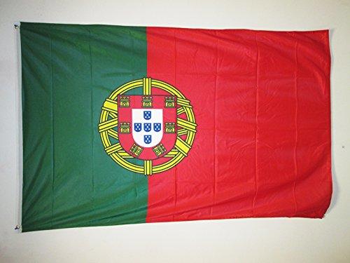 AZ FLAG Flagge Portugal 150x90cm - PORTUGIESISCHE Fahne 90 x 150 cm Aussenverwendung Metallösen - flaggen Top Qualität