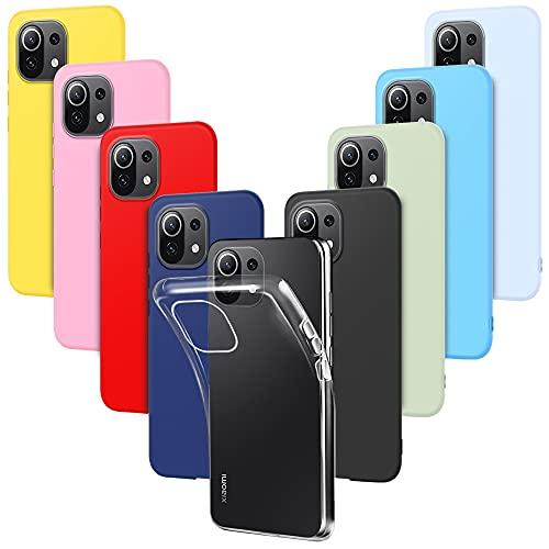 9X Funda para Xiaomi Mi 11 Lite Carcasa Suave Silicona, E-Lush Caso Ultra Delgado Soft Gel TPU Goma Case Cover, Negro, Azul Oscuro, Rojo, Azul Cielo, Rosa, Amarillo, Púrpura, Verde, Transparente